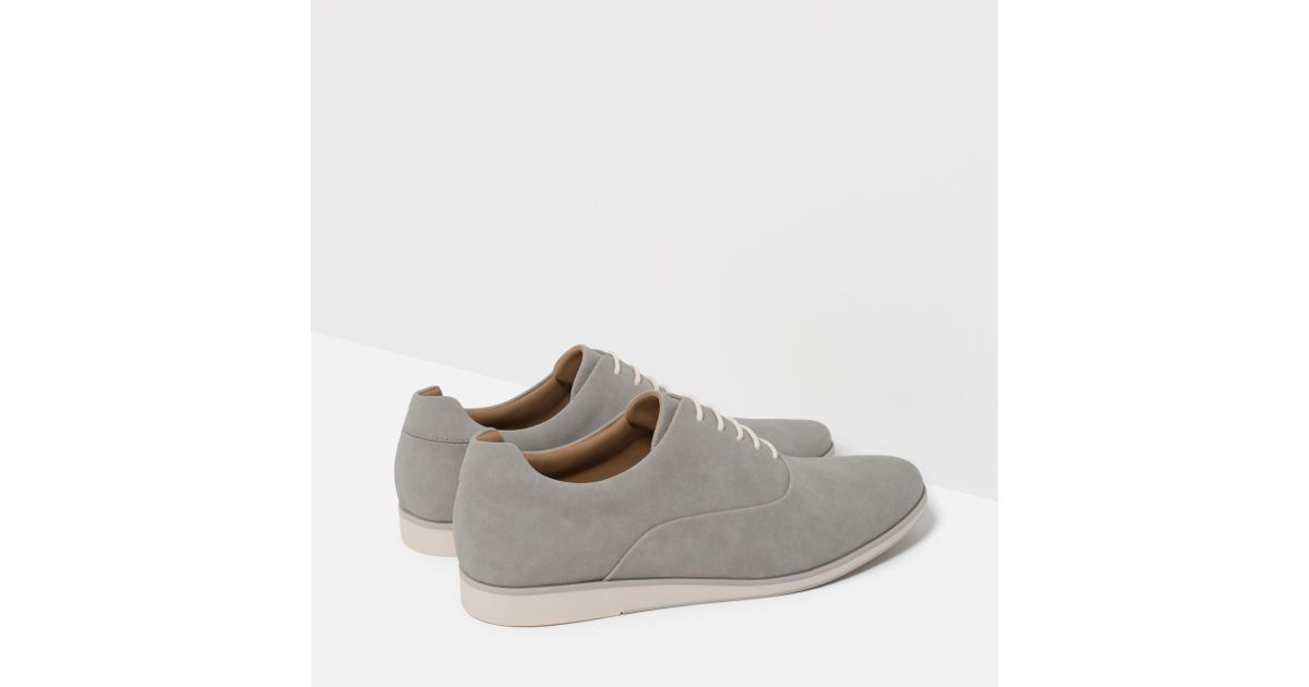 zara casual oxford shoes in gray for lyst