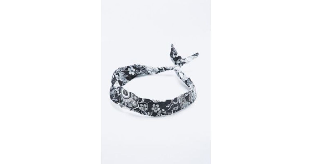 Urban Outfitters Bandana Wire Bow Headband In Black And White in Black -  Lyst 8ca5cab93b6