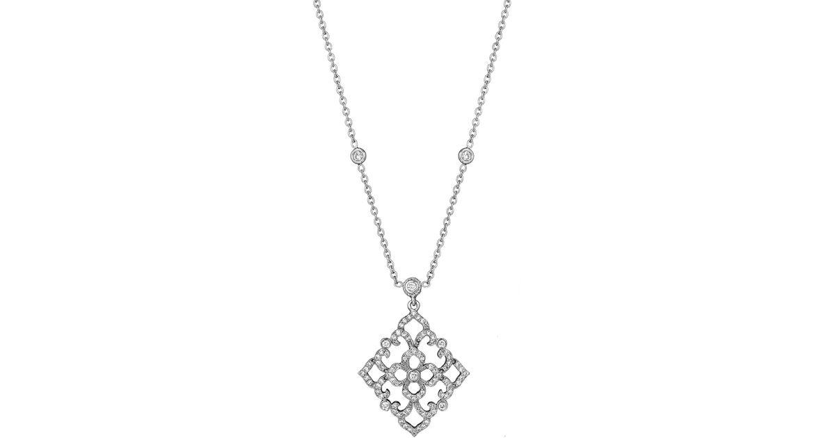 Penny Preville 18k White Gold Diamond Lace Pendant Necklace bz6FXXg