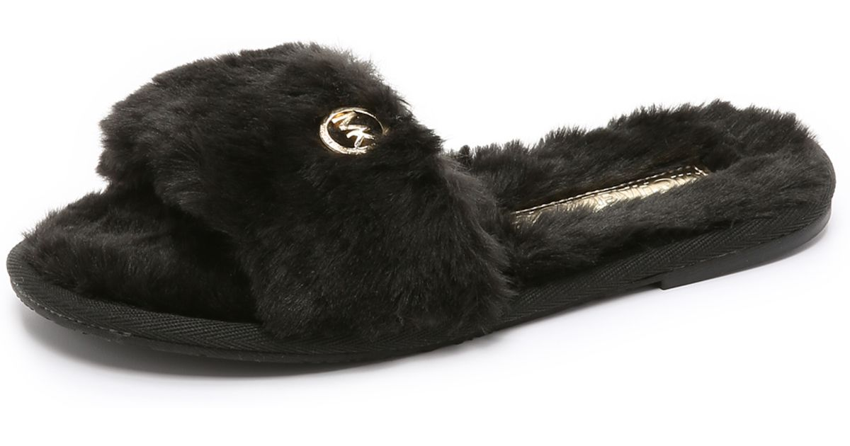 673c8f92b293 Lyst - MICHAEL Michael Kors Jet Set Faux Fur Slide Slippers - Black in Black