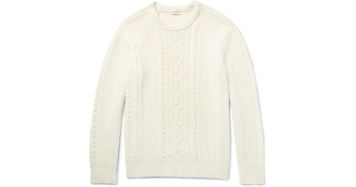 110240dd51b751 Club Monaco Cable-knit Merino Wool Sweater in Natural for Men - Lyst