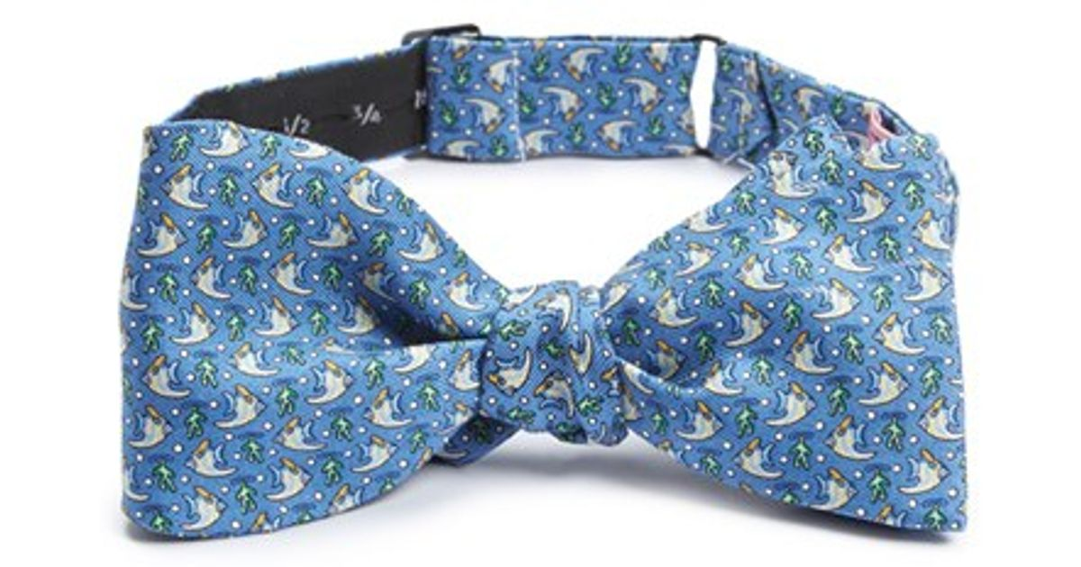 Lyst vineyard vines 39 angel fish 39 silk bow tie in blue for Fish bow tie