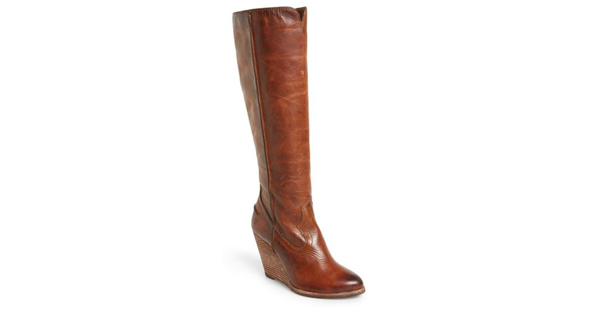 896909dc36f Lyst - Frye  cece  Tall Wedge Boot in Brown