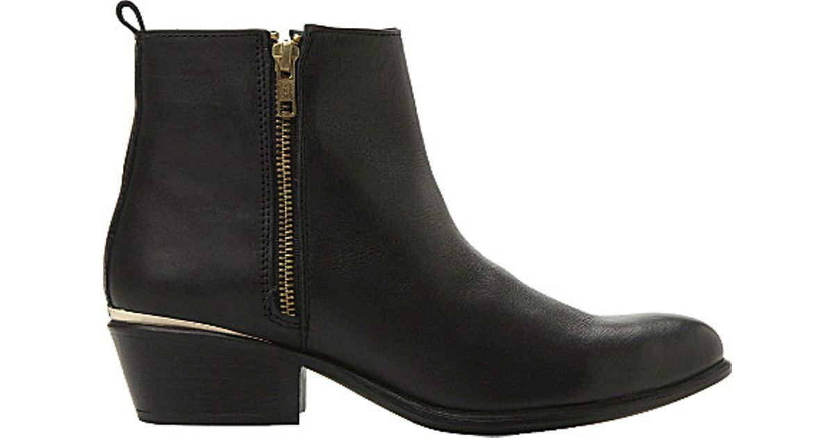 35887f9acdc Lyst - Steve Madden Side Zip Leather Ankle Boots in Black