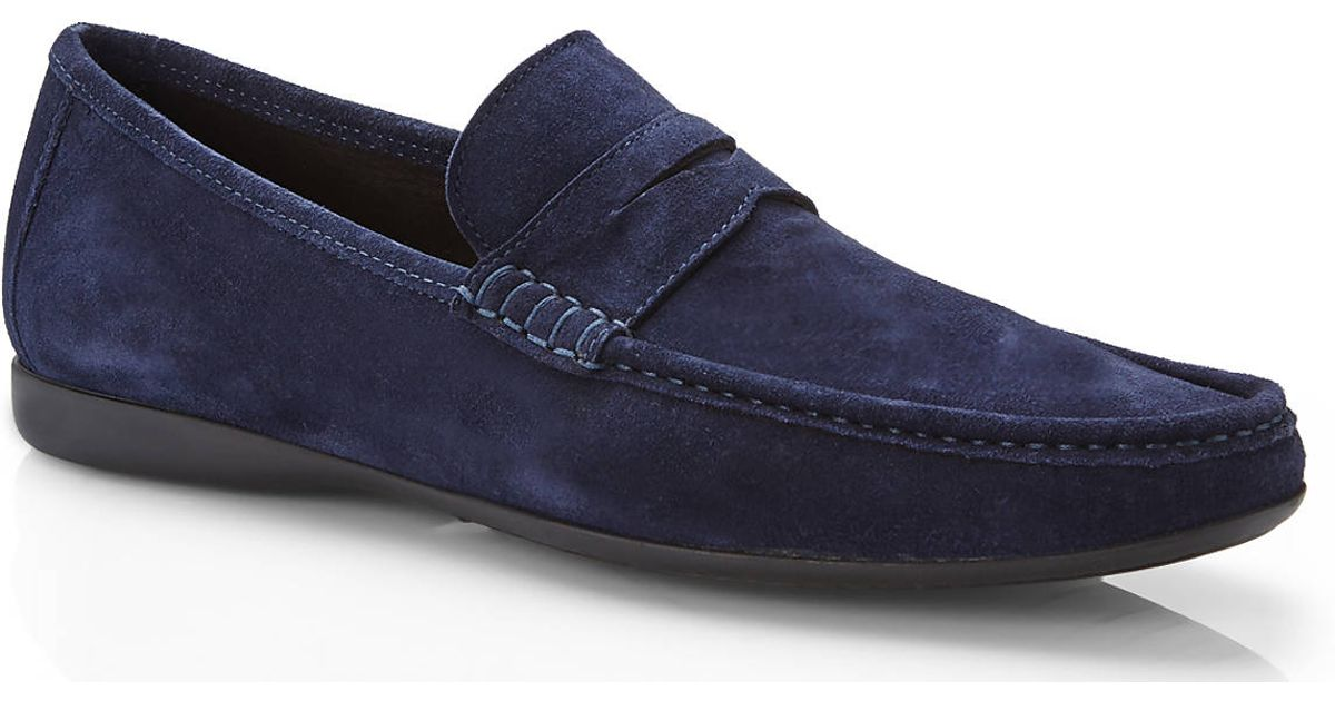f0a2bdba820 Lyst - Bruno Magli Navy Suede Penny Loafers in Blue for Men