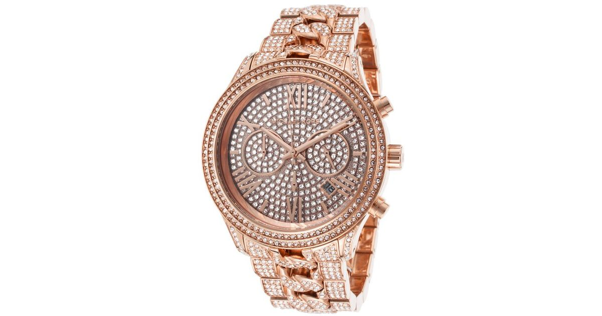 bd289e29c189 Lyst - Michael kors Women s Lindley Chrono Rose-tone Stainless Steel  Crystal Dial in Metallic
