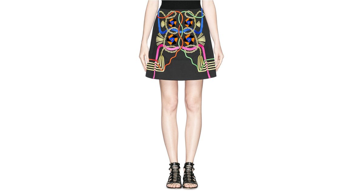 Lyst peter pilotto rope embroidery perspex appliqué mini skirt