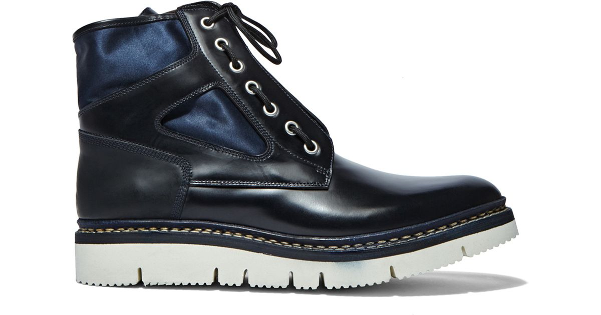 oamc s mara chunky leather ankle boots in navy in blue