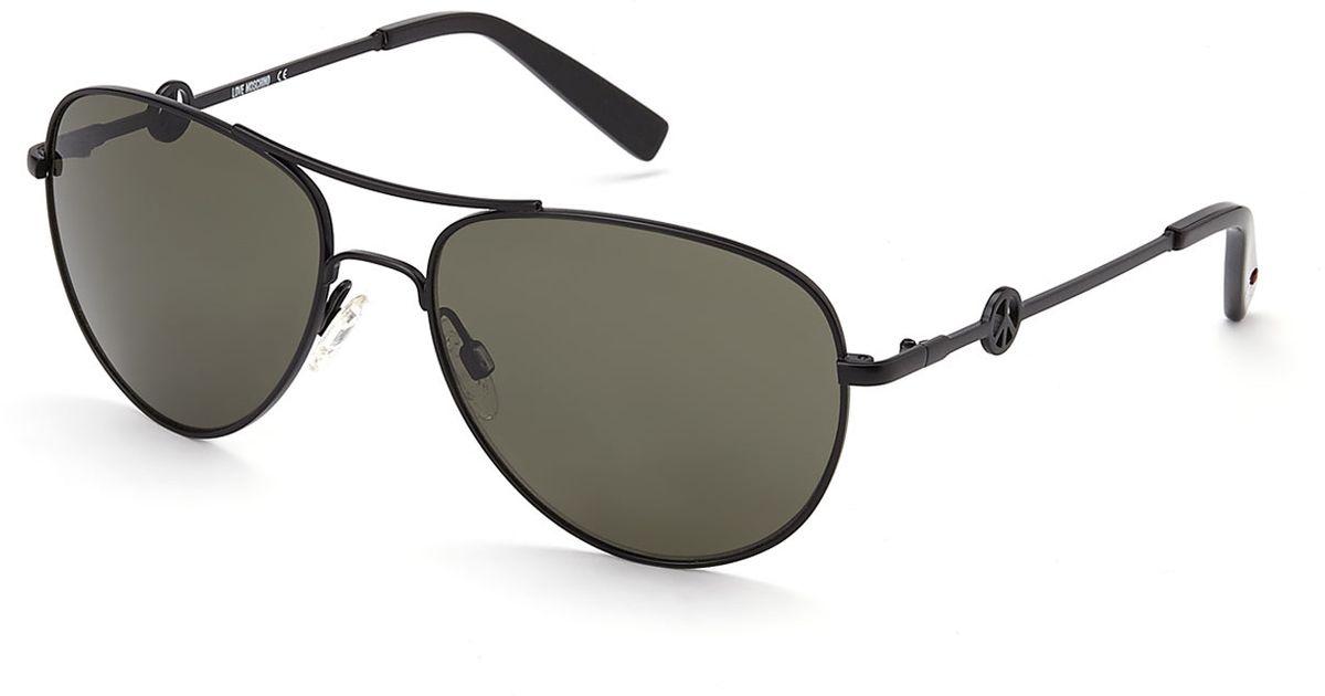 d6b984f70e Lyst - Love Moschino Ml51501 Black Aviator Sunglasses in Black