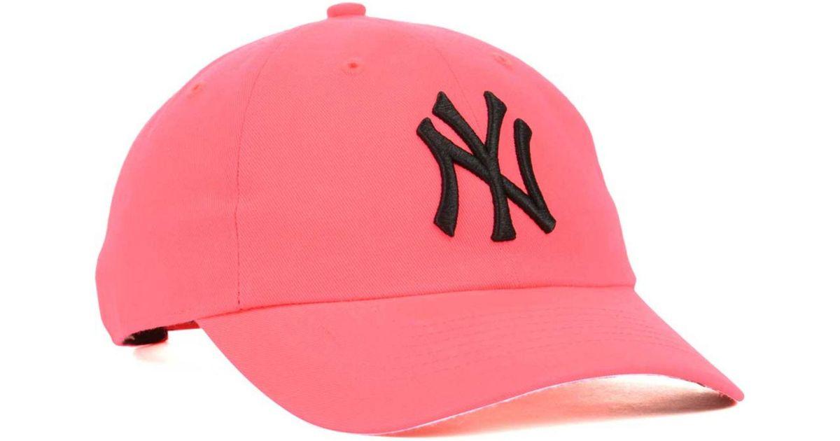 wholesale dealer ee9ca b1dcc ... spain lyst 47 brand womens new york yankees neon clean up cap in pink  for men