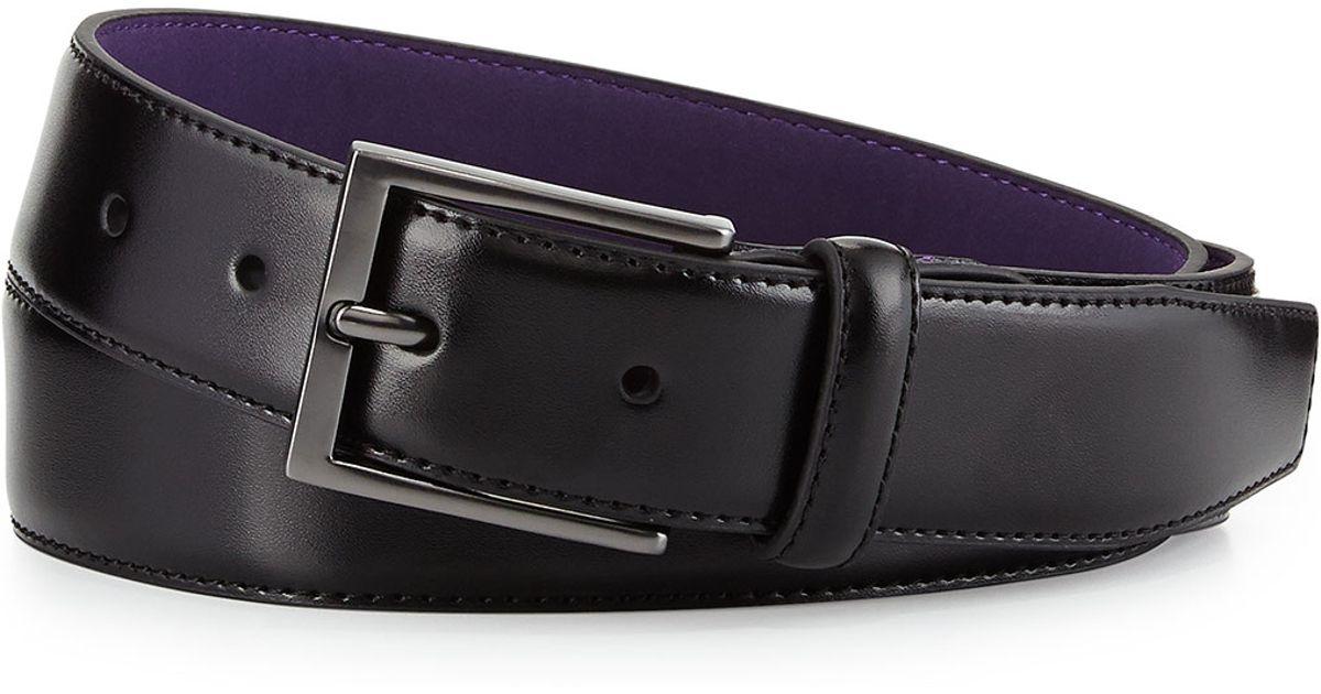 neiman leather dress belt in black lyst