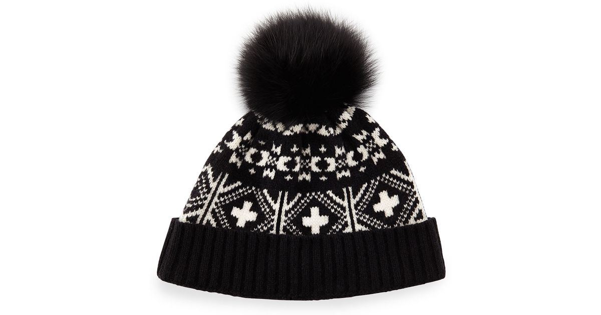 Lyst - Sofia cashmere Fair Isle Hat W/fox Fur Pom-pom in Black