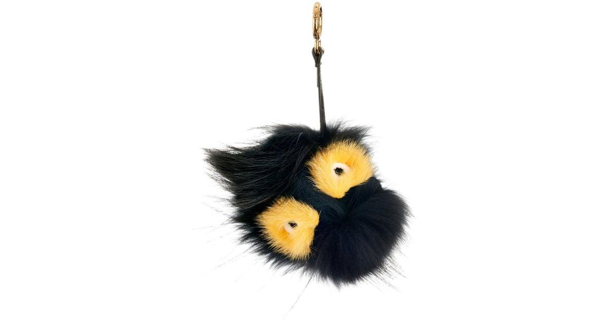 2ff8e41e3f0d Lyst - Fendi Archy Fox And Mink-Fur Bag Charm in Black