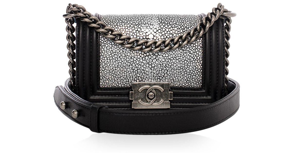 96c835ccb7ab Lyst - Madison Avenue Couture Chanel Metallic Stingray Calf Leather Mini  Boy Bag in Black