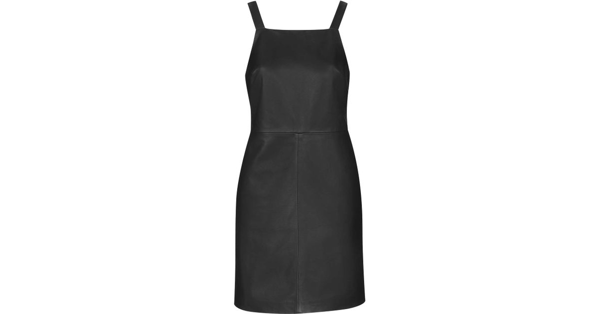 Lyst Topshop Leather Pinafore Dress By Boutique In Black