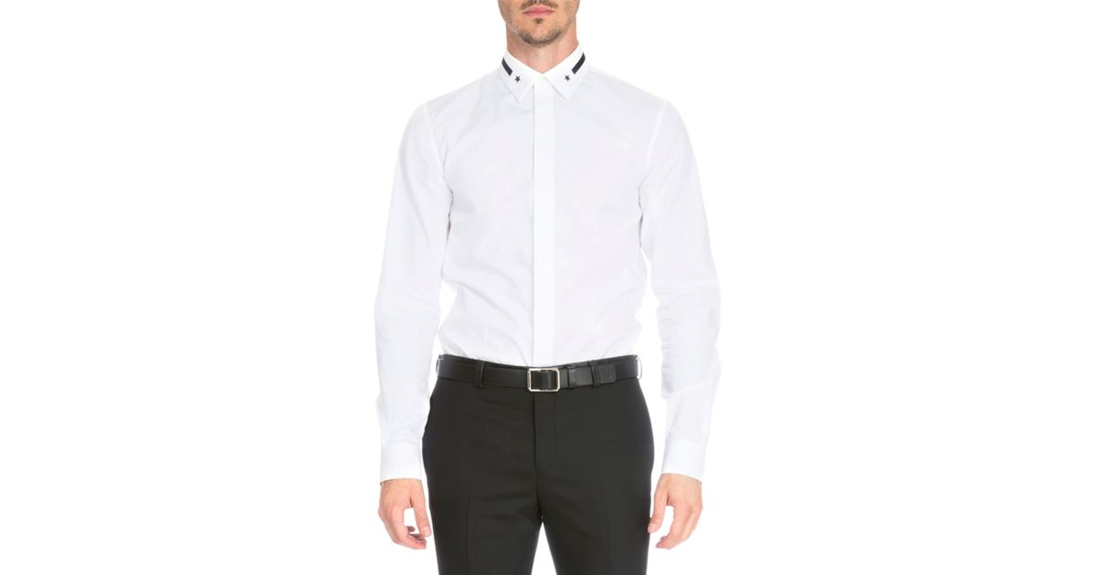 Givenchy Star Stripe Collar Button Down Shirt In White
