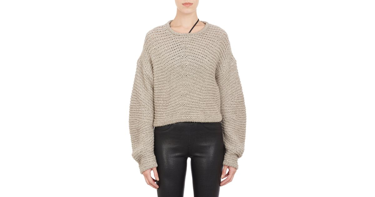 0ec3ea42 Helmut Lang Chunky-Knit Cropped Sweater in Brown - Lyst