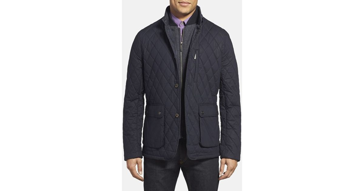 4c8039b9ae73f8 Lyst - Ted Baker  garyen  Diamond Quilted Jacket With Herringbone Liner in  Blue for Men