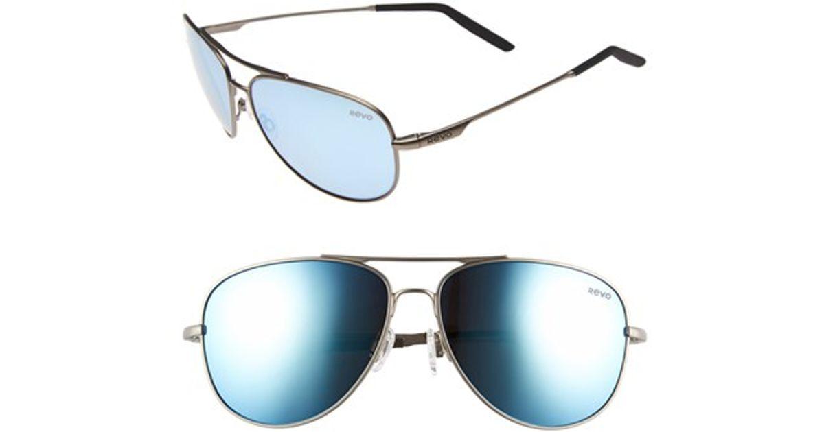 4ad715019b3 Lyst - Revo  windspeed  61mm Polarized Aviator Sunglasses - Gunmetal  Blue  Water in Blue for Men