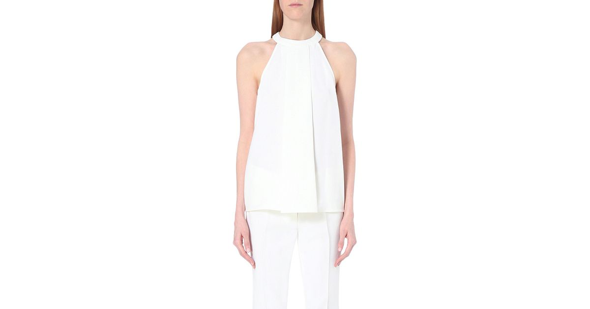 cf6a457d596de Lyst - MICHAEL Michael Kors Pleated Crepe Top in White