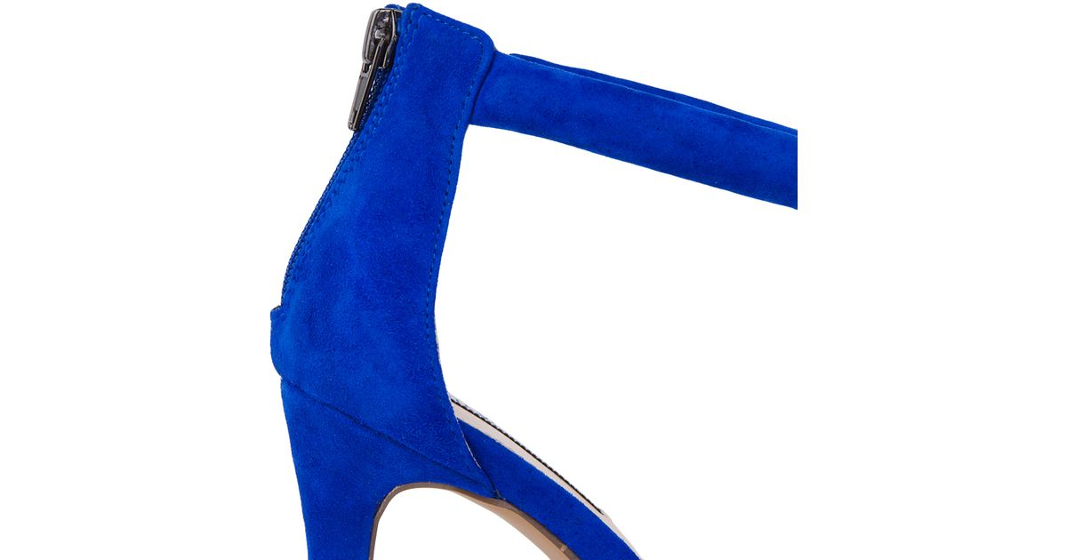 1df87dc536 Steve Madden Fancci Ankle Strap Heeled Sandals - Blue Suede in Blue - Lyst