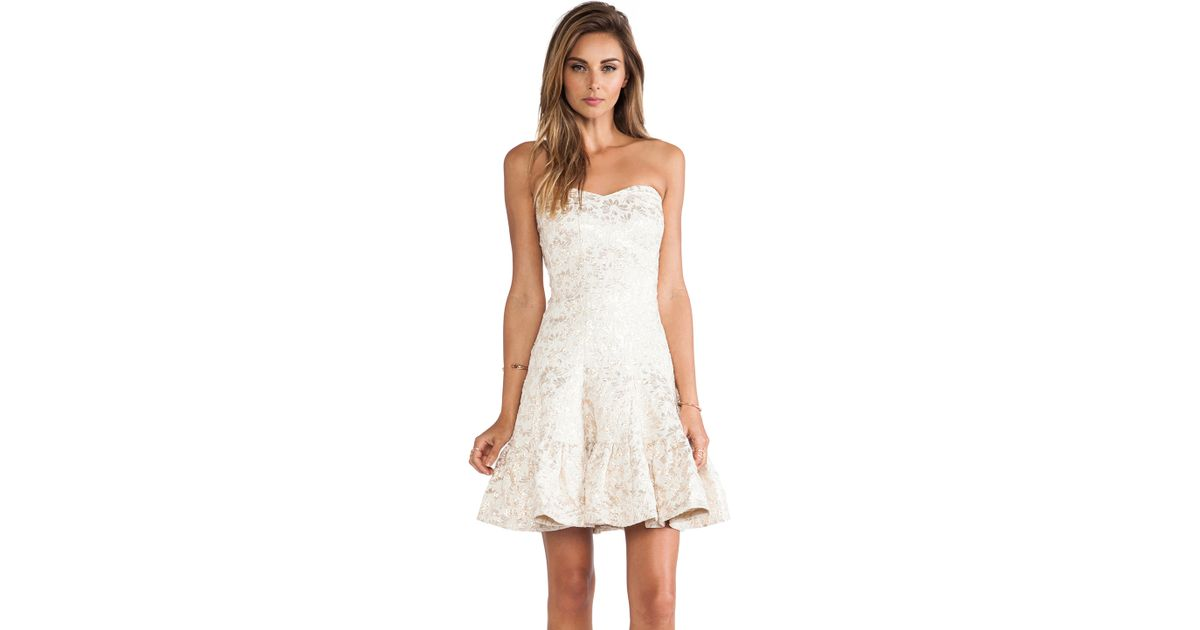 573252f9d9c Lyst - Anna Sui Metallic Daisy Jacquard Strapless Dress in Natural