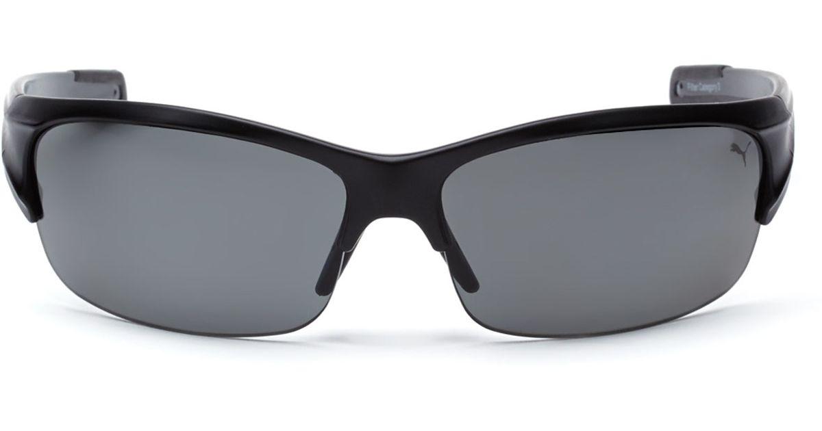 06a671b9ab Lyst - PUMA Pu14704P Black Half-Rim Sport Wrap Polarized Sunglasses in  Black for Men