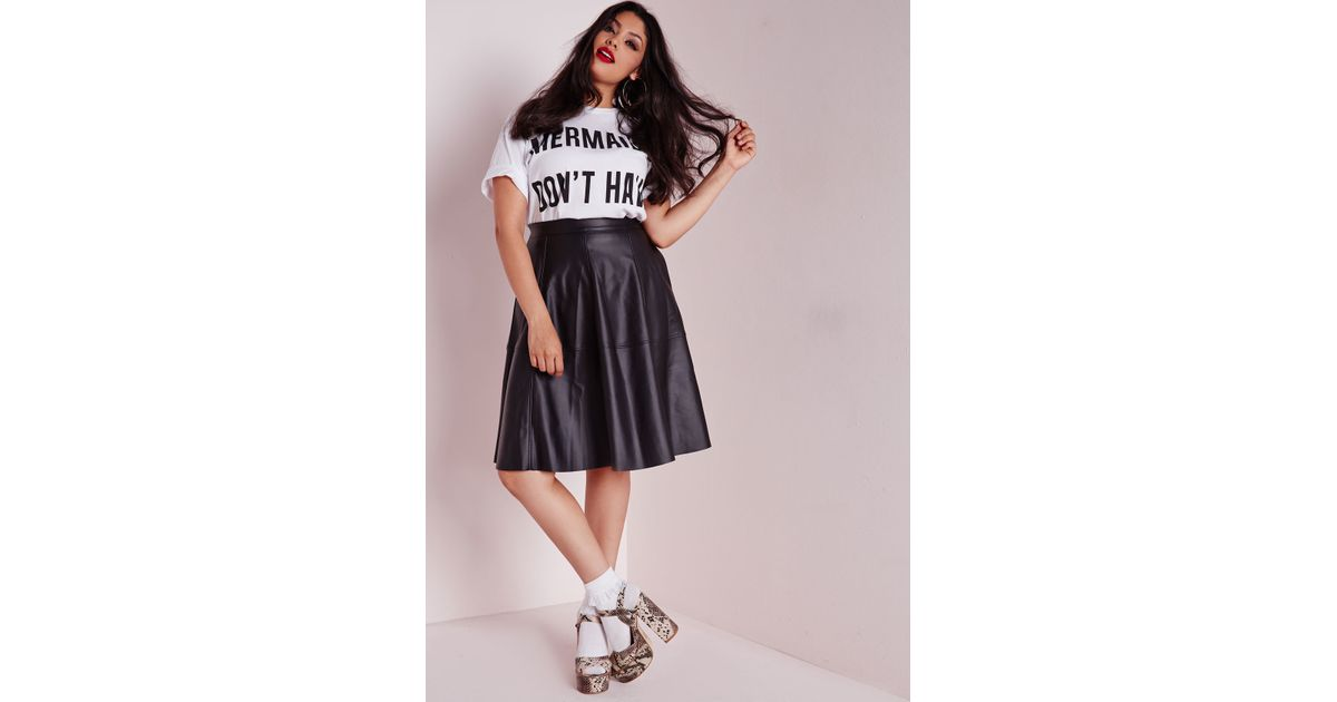 missguided plus size faux leather midi skater skirt black in black