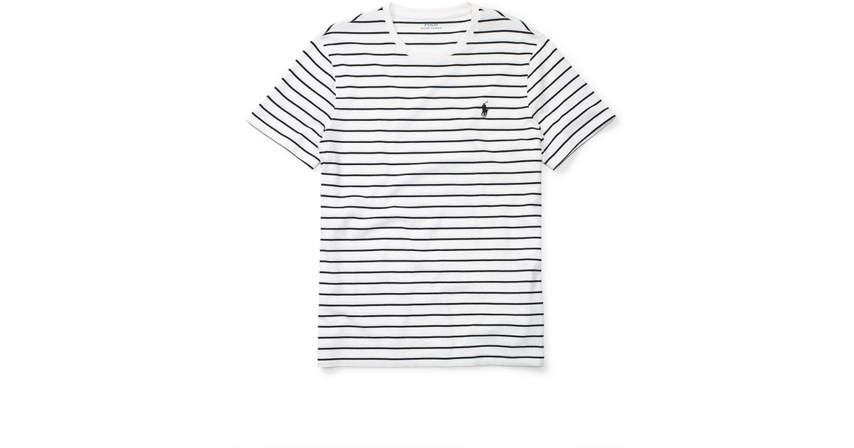 Shirt Lauren Striped Ralph Jersey For Men Cotton T Polo Black Lyst Y6gbfy7v