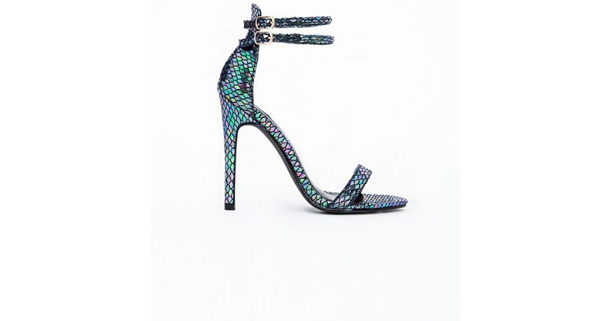 c0aa9aaa9ef Lyst - Missguided Jody Strappy Heeled Sandals Petrol Snakeskin in Blue