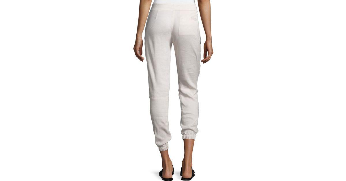 Simple Allen Allen Linen Long Cargo Pants In Blue  Lyst