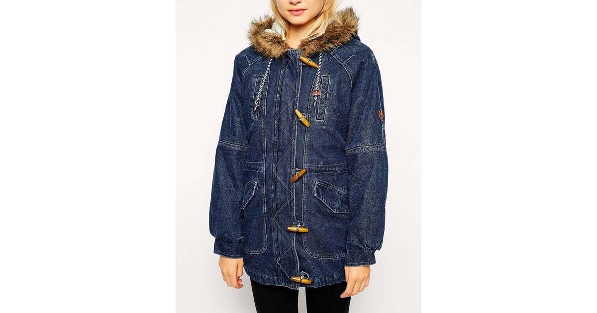 Bellfield Denim Duffle Coat in Blue | Lyst