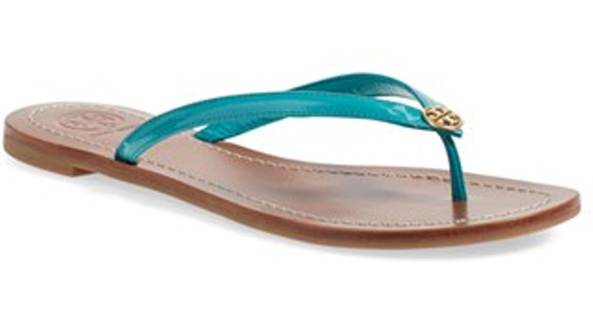 0d394600f33a Lyst - Tory Burch Terra Leather Flip-Flops in Blue