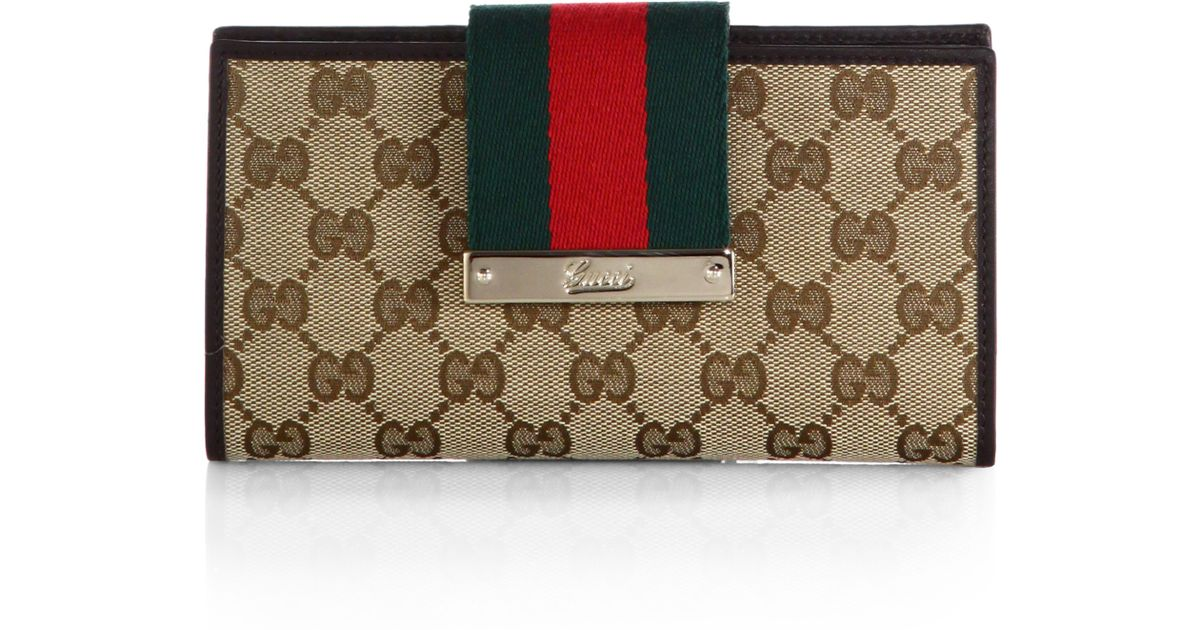 1a864f04481ddd Gucci Ladies Web Original Gg Canvas Continental Wallet in Green - Lyst