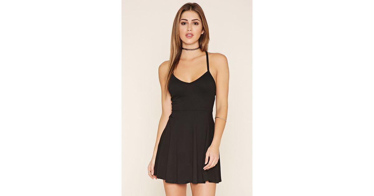 548d554775d Lyst - Forever 21 Crisscross-back Cami Dress in Black