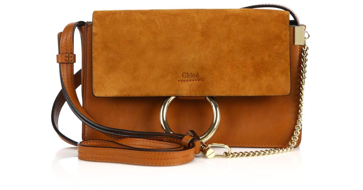 Chlo¨¦ Faye Small Suede \u0026amp; Leather Shoulder Bag in Brown (classic ...
