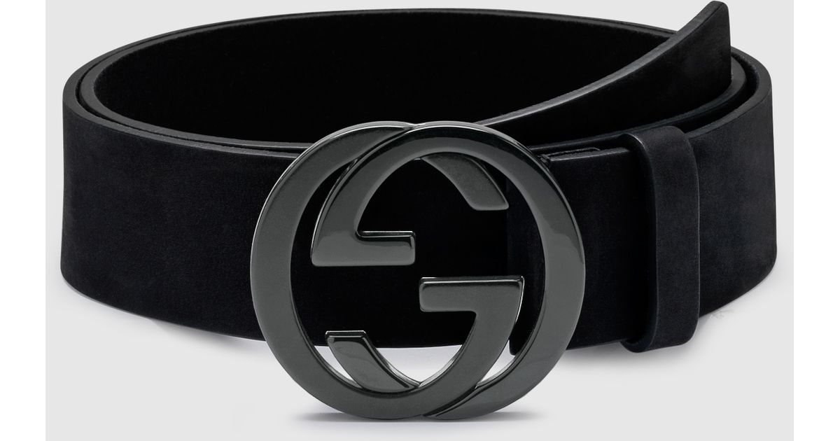 99bc0e22752 Lyst Gucci Black Suede Belt With Interlocking G Buckle In