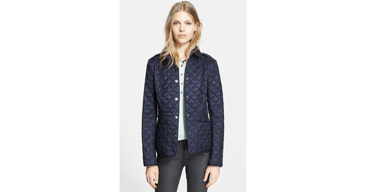 Burberry brit 'kencott' Patch Pocket Quilted Coat in Blue   Lyst : burberry brit kencott quilted jacket - Adamdwight.com