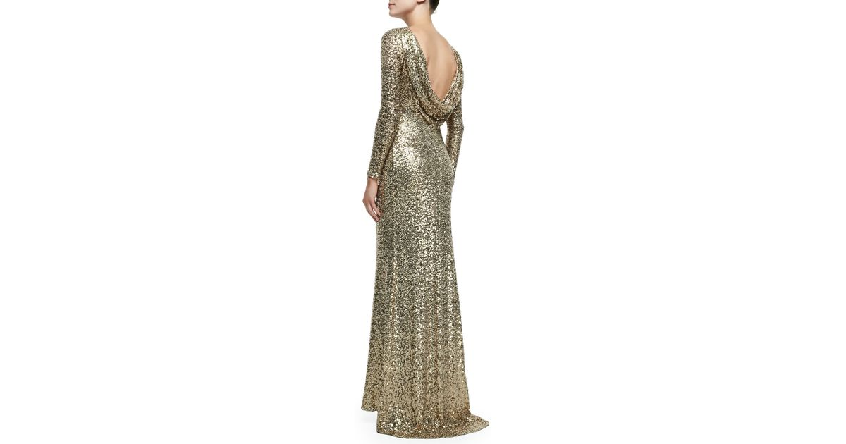 3a5ee5e8de Lyst - Badgley Mischka Long-Sleeve Sequined Cowl-Back Gown in Green