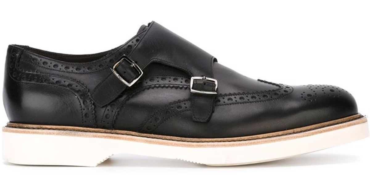 ferragamo buckled monk shoes in black for lyst