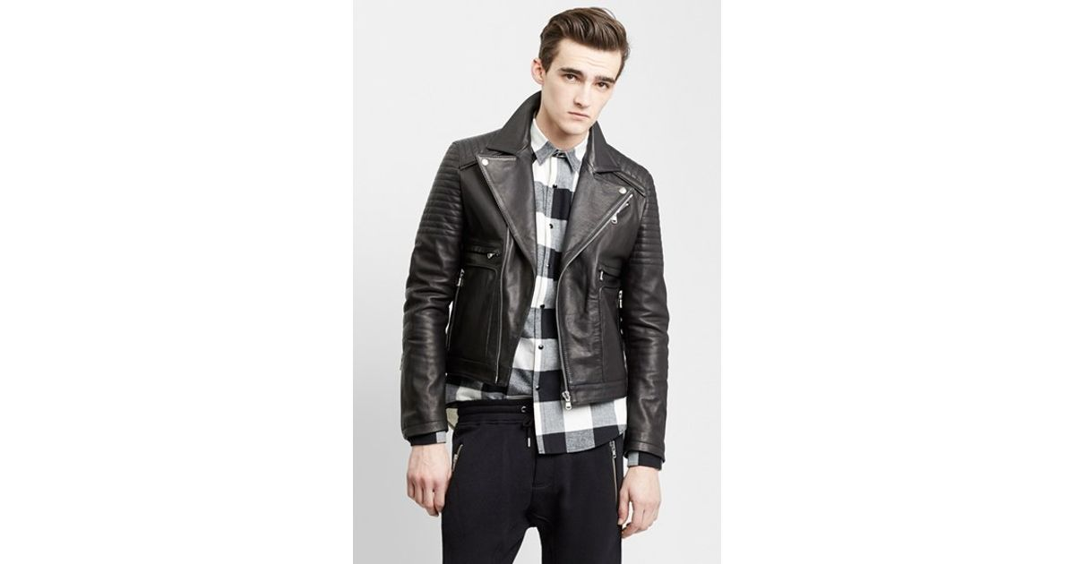 6dfdb75573f The Kooples Sport Leather Moto Jacket in Black for Men - Lyst