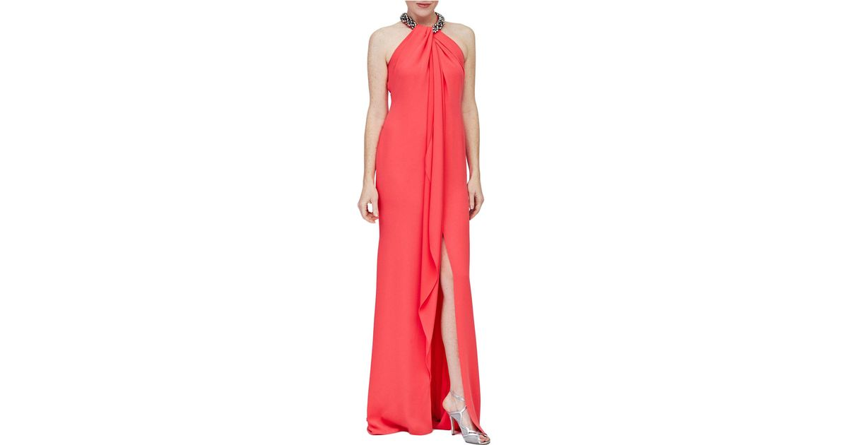Lyst - Carmen Marc Valvo Halter Toga Gown in Red