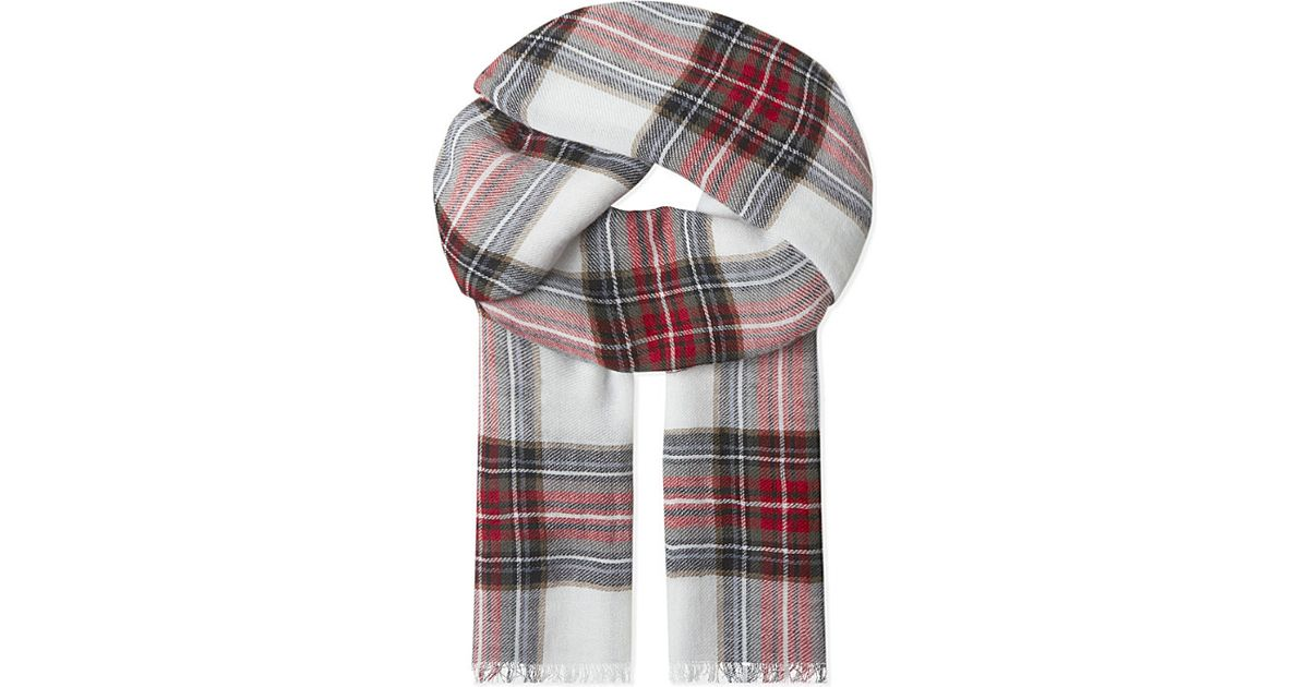 The Kooples Echarpe Checked Wool Scarf in White - Lyst ab1c26a2af2