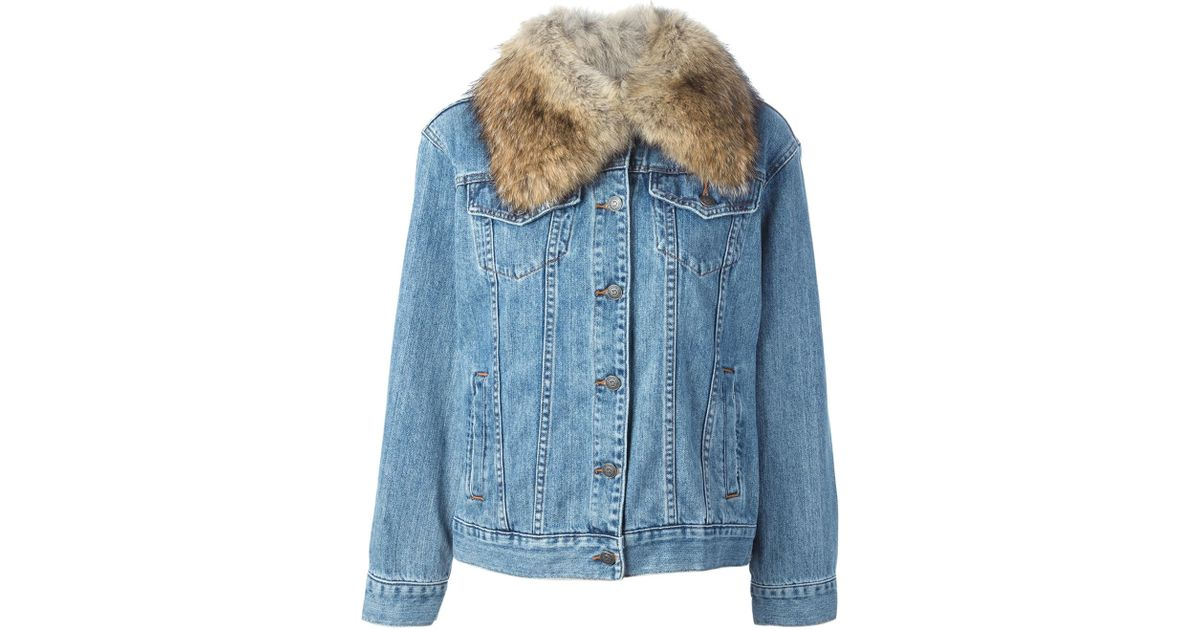 785fdf726f83 Lyst - MICHAEL Michael Kors Fur Collar Denim Jacket in Blue