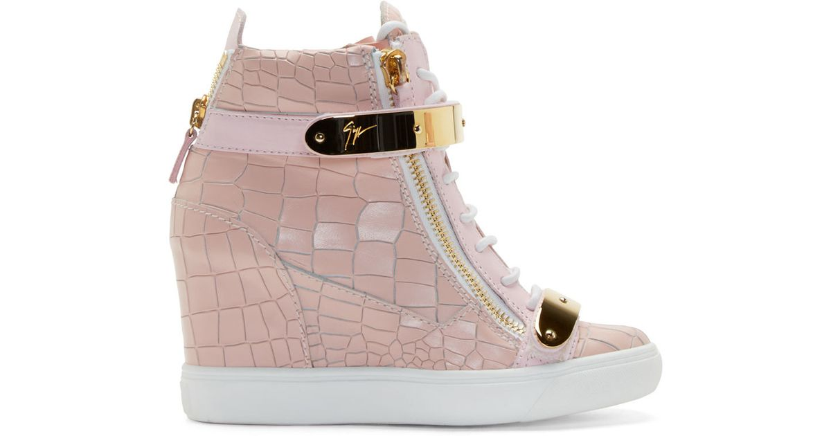 3c8e3221f84a Lyst - Giuseppe Zanotti Pink Lorenz High top Wedge Sneakers in Pink