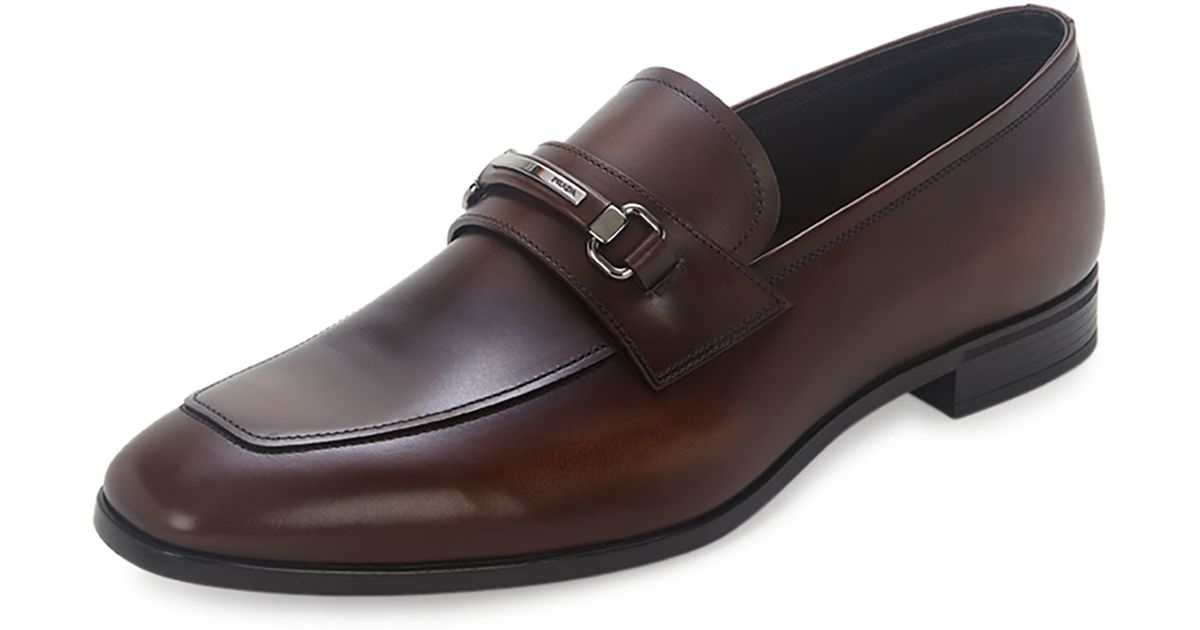 prada brown leather loafers