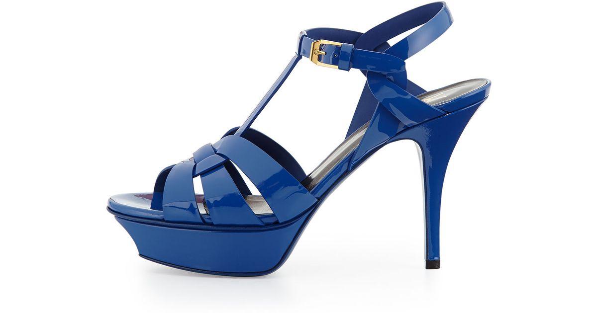 ba3dacba055 Saint Laurent Tribute Midheel Leather Platform Sandal Blue Majorelle in Blue  - Lyst