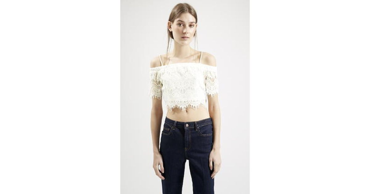 f1d11f8dcb549 Lyst - TOPSHOP Petite Lace Bardot Crop Top in White