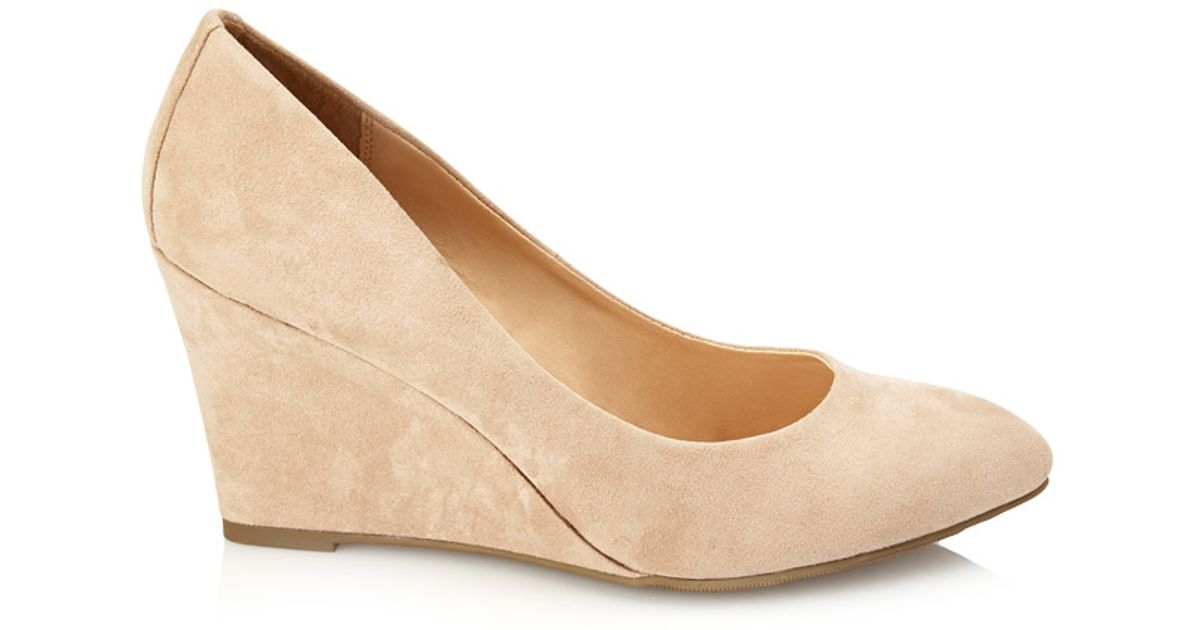 73a65257270 Lyst - Forever 21 Faux Suede Wedge Pumps in Natural