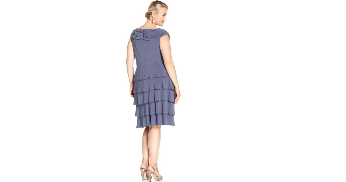 Lyst Patra Plus Size Beadtrim Tiered Dress In Blue
